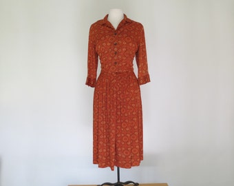 PUMPKIN PIE // sweet 1960s polyester shirt dress with rhinestone buttons