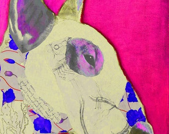 PinkBullie Mixed Media Collage Art Giclee Print English Bull Terrier