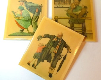 Vintage Norman Rockwell Wall Hangings Set of Three, Heavy Lacquered Wood, Child's Surprise 1936, Lion and His Keeper 1954, A Young Girl 1972