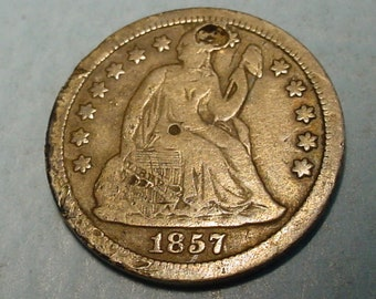 1857 Seated liberty Dime About Good W/ Hole, Full Liberty, Date all there,  Priced to sell,  Free S.H. to US <>ET9243