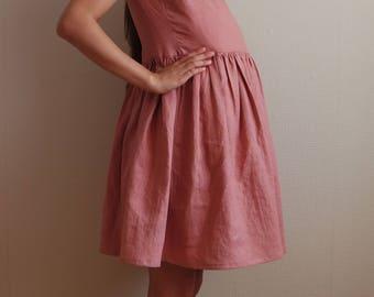 Maternity dress, Linen dress, Linen maternity dress, Maternity dress, Linen short dress, Small size dress, Linen clothing, Womens dress