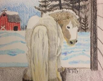 Original colored pencil pony