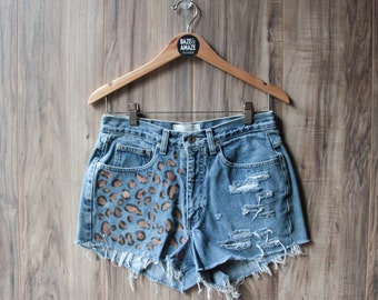 High waist vintage denim shorts Size 8 | Ripped distressed shorts | Cheetah leopard painted denim | Hipster festival bohemian shorts |