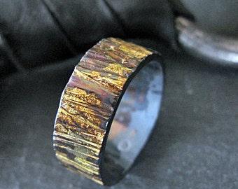 Size 11-1/2 Rustic Mens Wedding Band Bark Ring Mens Wedding Ring Unique Mens Wedding Band Viking Wedding Ring Mens Wedding Bands Black Gold