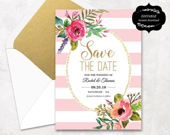 Wedding save the date template printable save the dates blush pink floral save the date card template printable save the date card instant stopboris Images