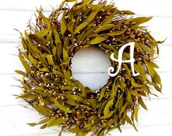 Fall Wreath-MONOGRAM DOOR WREATH-Rustic Twig Door Wreath-Yellow Bay Leaf Wreath-Home Decor-Fall Wreath-Personalized Gift-Custom Wreaths