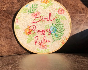 Girl Bosses Rule embroidered wall hanging Embroidered Wall Decor Ready to Ship