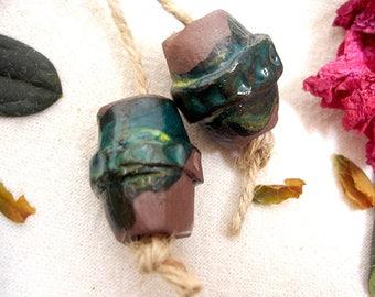 Large Double cone ceramic beads, Earring ceramic beads, Jewellery supplies, AniFlowerbells #399