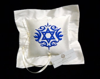 Silk Ring Bearer Pillow embellished with Star of David