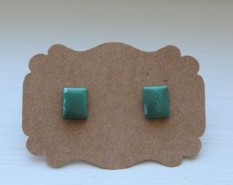 Green Turquoise Studs, Genuine Turquoise, Genuine Turquoise Posts, Sterling Silver, Silver Turquoise Earrings, Turquoise Jewelry #4