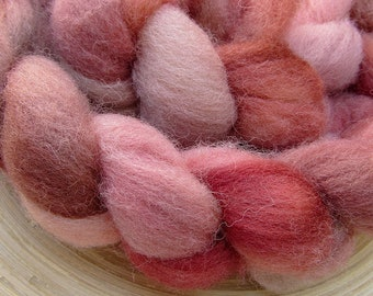 Hand dyed southdown wool combed Top Roving for spinning and felting - 114 grams