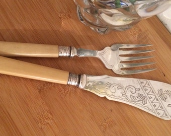 Artdeco Vintage silver plated fish servers faux bone handles & sterling silver collars