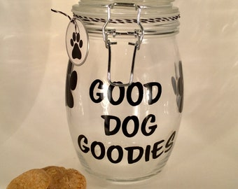 "Personalized Dog Treat Jar - Dog Treat Container - Dog Biscuit Jar - ""Good Dog Goodies"" Dog Treat Canister"