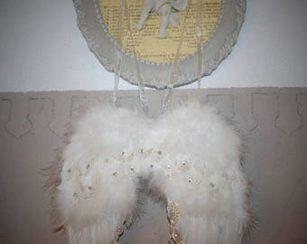 Rhinestone and white feather Angel Wings