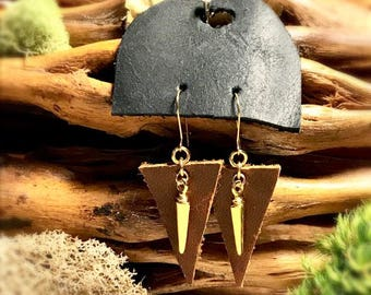 Brown leather triangle earrings with gold triangle charm.