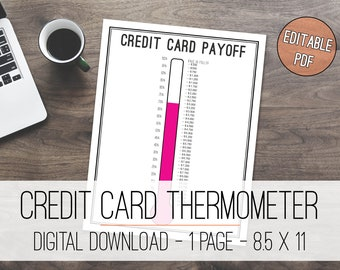 Credit Card Payoff Tracker Thermometer Printable, Debt Free Tracker, Debt Free Tracker, Credit Card Tracker