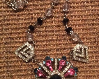Vintage Pink and Blue Vintage Rhinestone Necklace