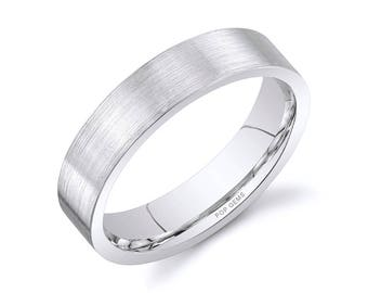 14k White Gold Band (5mm) / PLAIN / Matte Brushed Flat + Comfort Fit / Men's Women's Wedding Ring
