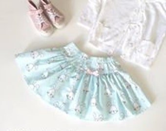 Easter Twirly Skirt - Sweet Mint Green Bunny Rabbits