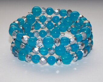 Blue Glass and Sparkling Silver Glass Rondelles and Silver Czech Glass Wrap Bracelet