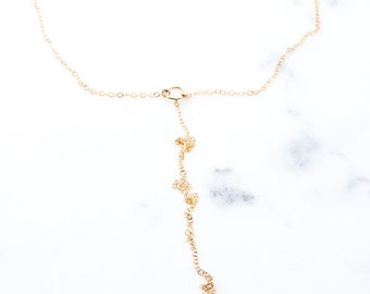 Nalani necklace - gold Y necklace, gold choker necklace, gold lariat necklace, delicate necklace, gold choker necklace, Y necklace, hawaii