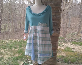 Upcycled Talbot's 3/4 sleeve with plaids Mint and Blue Size L long boho tunic country prairie shabby hippie refashioned repurposed altered