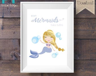 INSTANT DOWNLOAD - Bathroom Print - Even Mermaids Take Baths - Light Purple - Printable Digital File