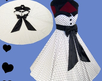 New Rockabilly Dress White Black Polka Dot Bow Cotton Full Circle Skirt Swing Prom Party Bridesmaid Vintage M L XL Party