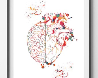 Heart And Brain Balance Watercolor Print Brain&Heart Poster Cognitive Psychology Illustration Follow Your Heart vs Follow Your Brain print