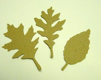 Tattered Fall Leaves Die Cut  from Kraft Chipboard Pack of 6