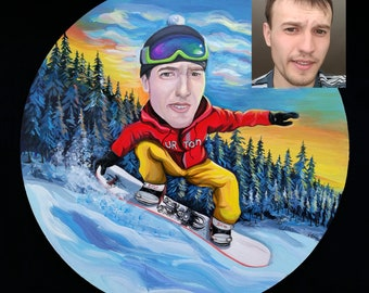 Custom Snowboarder Portrait from your photo / Snowboarder caricature / Snowboarder dad gift /Snowboard portrait / Snowboard caricature