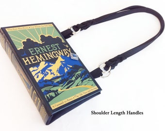 Ernest Hemingway Recycled Book Purse - Old Man and The Sea Book Bag - A Farewell To Arms Book Clutch - Teacher Gift - Literary Gift