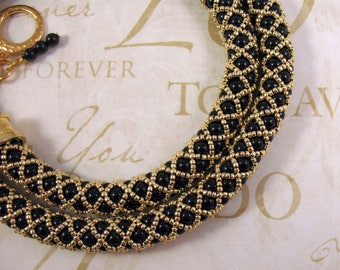 Hand Woven Black and Golden Bead Necklace