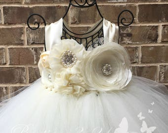Ivory Flower Girl Dress, Ivory Tutu Dress, Ivory Tulle Dress, Ivory Dress, Ivory Wedding, Ivory, Flower Girl Dress, Tutu Dress, Tulle Dress