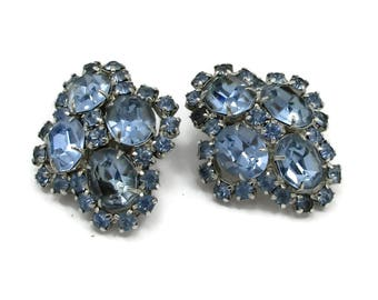 KRAMER Silver Tone Blue Rhinestone Clip On Earrings Designer Costume Jewelry Bridal High End Runway Statement Christmas Gift Ideas Prong Set