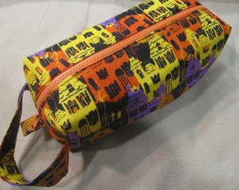 Halloween Mansion with surprise embroidery inside - Cosmetic Bag Makeup Bag LARGE