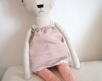 Cat Handmade Doll - stuffed toy, plush cat, stuffed animal, cloth doll, Doll Fabric cat , Linen Dolls,decorative toy, baby gift,girl gift