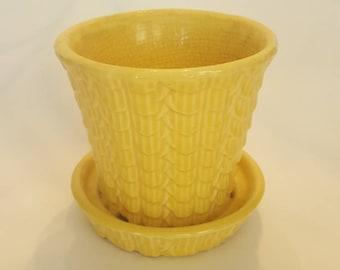 Vintage NelsonMcCoy, Brush McCoy Planter, bright yellow geometric Fishscale pattern