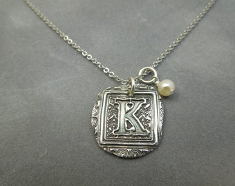 Personalized initial necklace uppercase, fine silver any letter