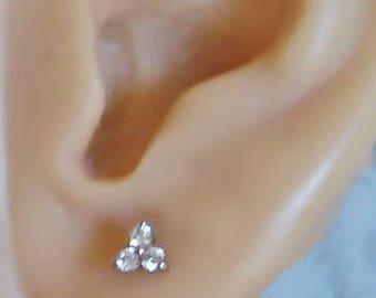 Triple Diamond Triangle Stud - 14k Gold Earrings - Prong Set - Diamond Earrings - Minimalist Earrings - Geometric Stud - Bridal Studs