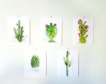 Inspirational christian art:  Cactus illustration with bible verses SET of 5