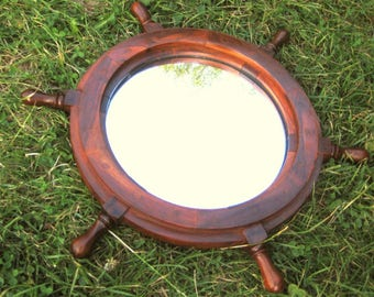 Wooden steering wheel with mirror-45 cm