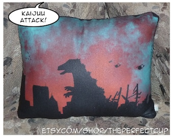 Kaiju Rampage Pillow - cryptid cryptozoology giant prehistoric animal japanese monster movies decorative fleece science fiction sci fi decor