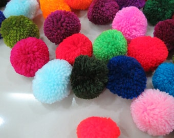 """100 pompoms,1"""" inch, Mixed Colors Pompom Balls 20mm,Fluffy Pom Pom Balls,Party Decoration,DIY Craft Supplies,Baby Toy Accessories"""