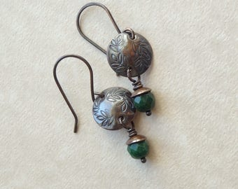 Dark Green Stone Earrings, Hammered Copper Discs with Patina Leaf Design, Small African Jade Drop