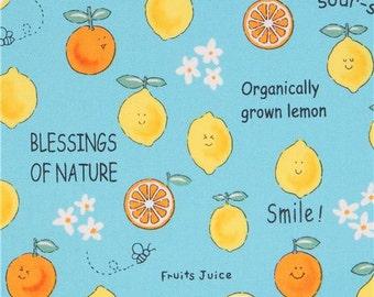 213034 turquoise cute lemon orange fruit oxford fabric by Kokka
