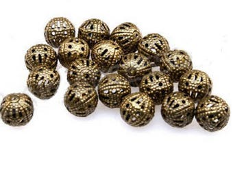 set of 20 filigree openwork beads bronze 8 mm