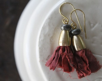 Rajasthan Sari Silk Tassel Earrings with Raw Brass Cones and Pyrite Rondelles - Russet Red Orange Fiber Glory - Trendy Fall Fashion