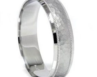 Hammered White Gold Ring Mens Wedding Band Hammered Wedding Band, White Gold Wedding Band, Gold Ring Mens 10K White Gold Ring 6MM Size 4-9
