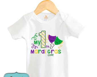 My First Mardi Gras Shirt Baby Bodysuit Personalized with Name and Year